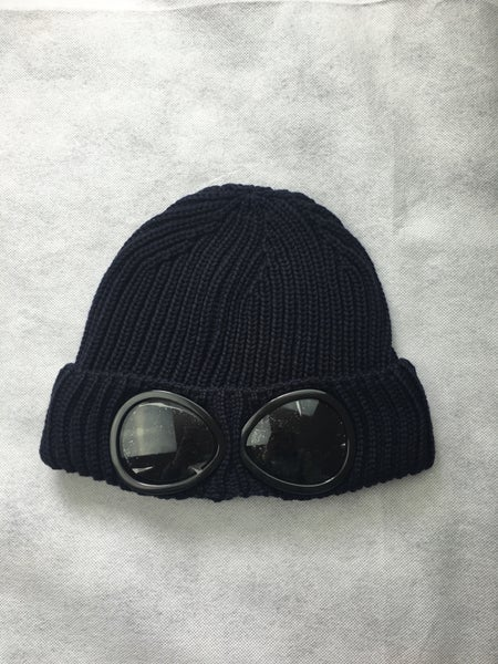 Image of Cp company navy goggle beanie