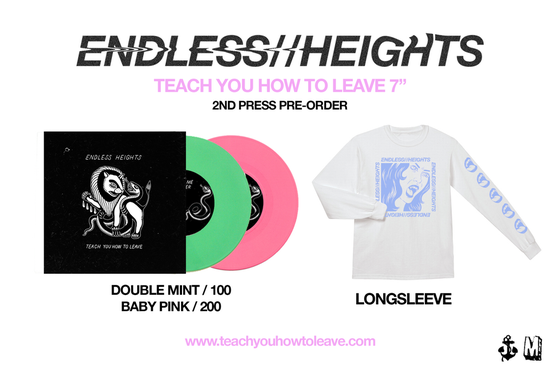 "Image of ENDLESS HEIGHTS 7"" Inch  (BOTH Vinyl colours - Green + Pink) + Longsleeve Pre-order"