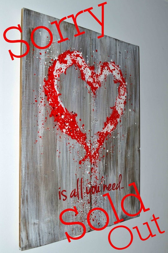 "Image of ""John Lennon was Right!"" Reclaimed Wooden Boards Red"