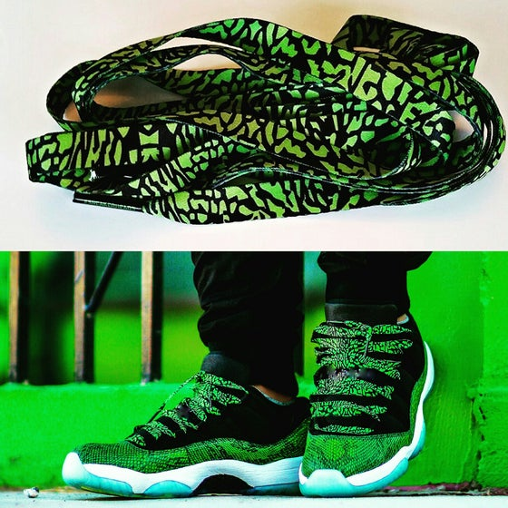 "Image of Exclusive ""Elephant Print"" LE Custom Laces (Volt Green)"