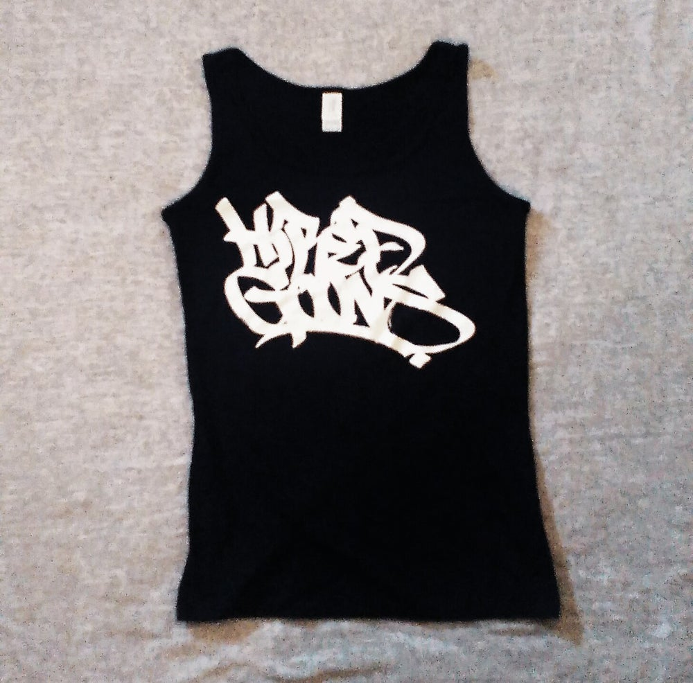 "Image of Ladies Hired Goons tag ""Husband Beater"" singlet.  White on Black"
