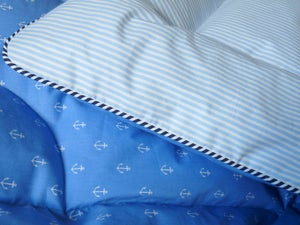 Image of  Blue Anchors And Stripes Single Eiderdown