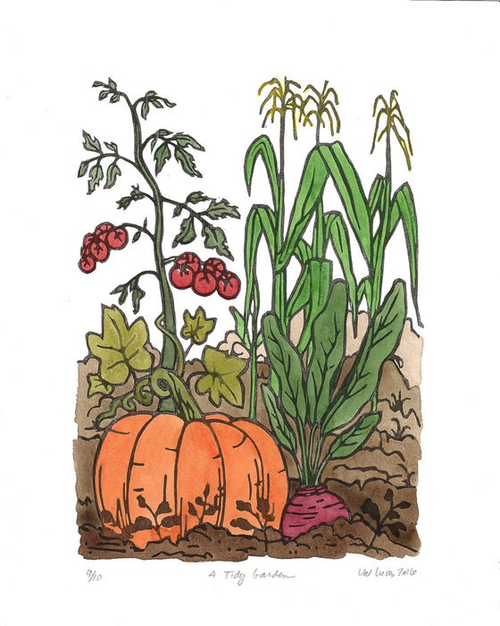 "Image of ""Tidy Garden"" Woodcut Print"