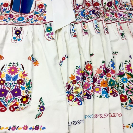 Image of Mini Dia Dress! Cream with multi colored embroidery