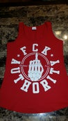 Image of Red and white ladies tank