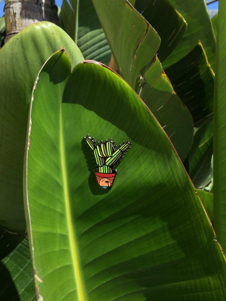 Image of Cactus hand SHAKA enamel pin