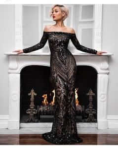 Image of Long sleeve embellished evening dress