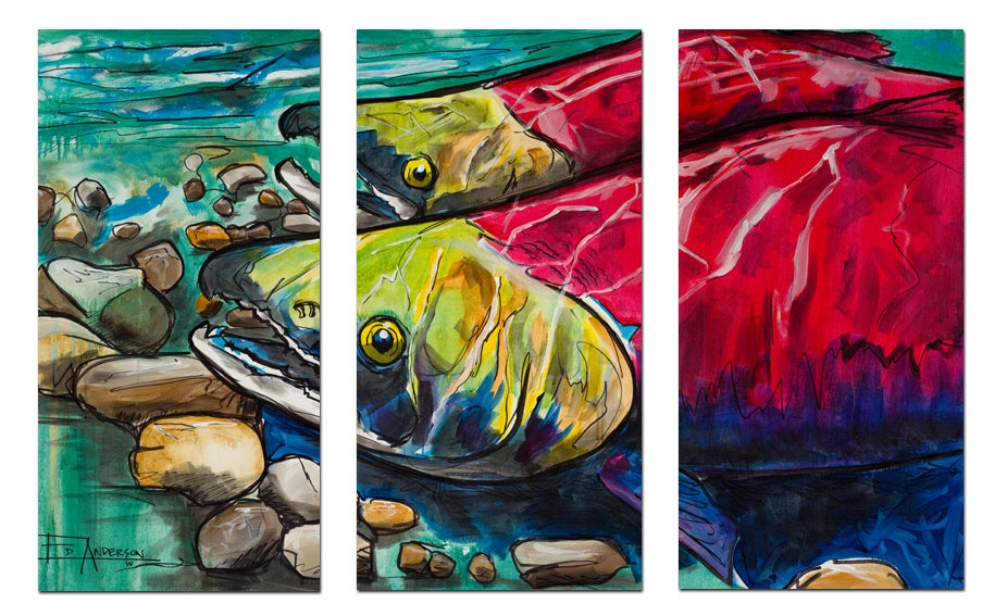 Image of Upstream Two Sockeyes Triptych