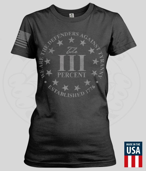 "Image of THE THREE PERCENT ""DEFENDERS"" Women's T-SHIRT"