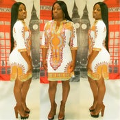 Image of White vneck Dashiki Dress