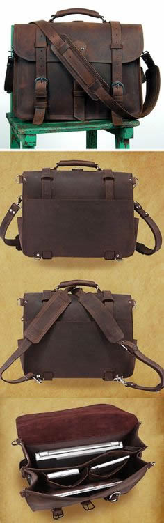 Image of Men's Large Vintage Handmade Leather Briefcase / Travel Bag / Satchel - Backpack / Messenger (n53)