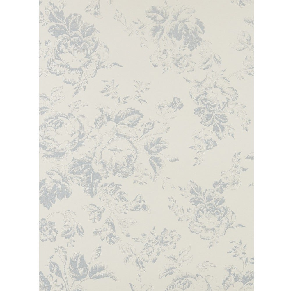 Image of CARTA DA PARATI COUNTRY CHIC CABBAGES AND ROSES ® - Paris Rose Blue