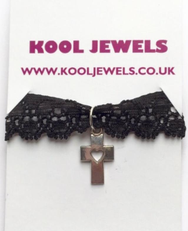 Image of Kool Jewels Cross Heart Black Lace Choker
