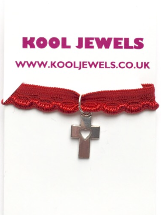 Image of Kool Jewels Silvertone Cross Heart Red Choker