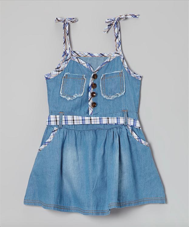 Image of Denim dress with stripe belt