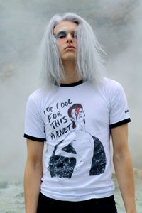Image of FOREVER BOWIE - TOO COOL RETRO TEE WHITE/BLACK