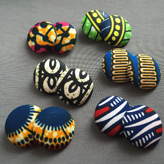 Image of isa - large ankara fabric button earrings