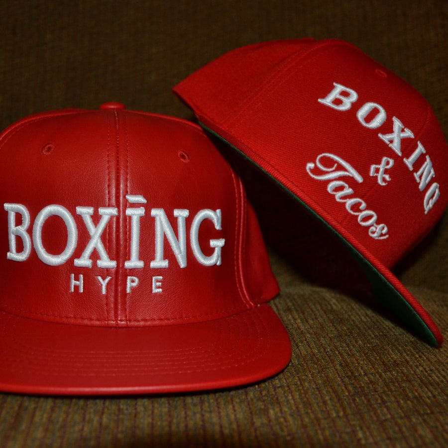 Image of RED faux Leather Snapbacks