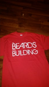 """Image of RED """"BEARDS IN THE BUILDING"""" TEE WITH WHITE PRINT"""