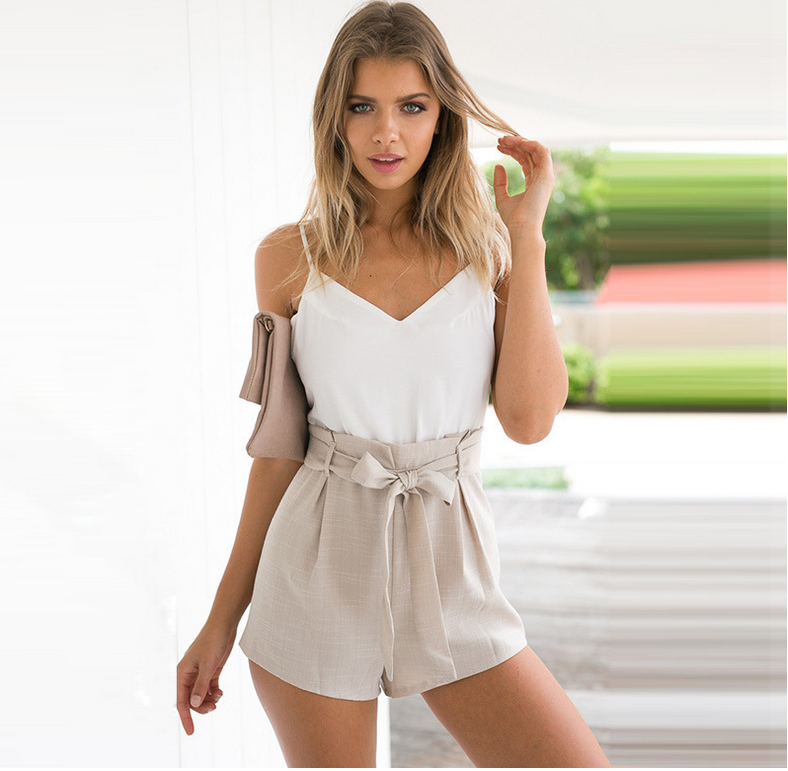 Image of Condole belt v-neck backless tall waist jumpsuits