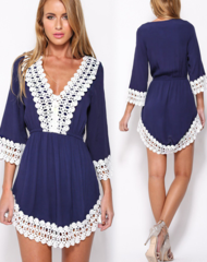 Image of Fringed lace sleeve dress