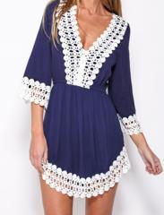 Image of Fringed lace sleeve dress
