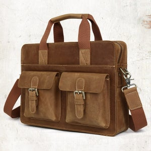 "Image of Vintage Handmade Crazy Horse Leather Briefcase / Satchel / 11"" 13"" MacBook 12"" 13"" Laptop Bag (n07B)"