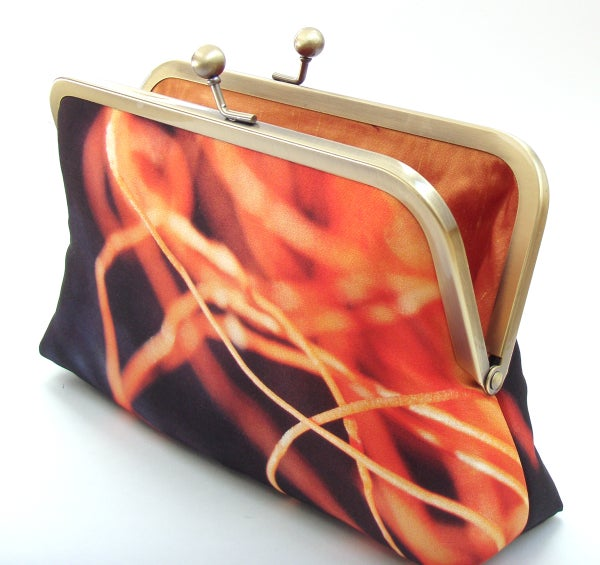 Orange fishing twine, clutch bag, orange and navy purse, beach, printed silk - Red Ruby Rose