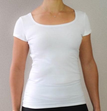 Image of White Women's High Scoop Cap Sleeve