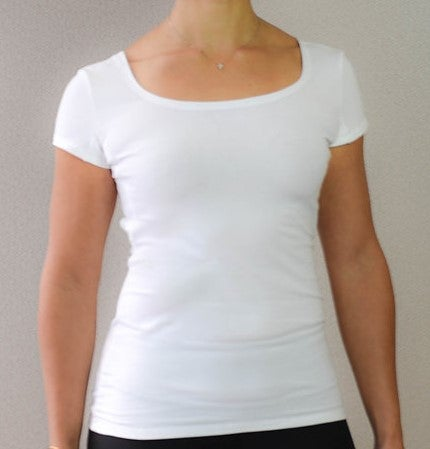 Image of White Women's High Scoop Cap Sleeve