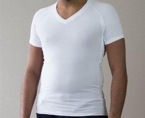 Image of White Unisex V-Neck Short Sleeve