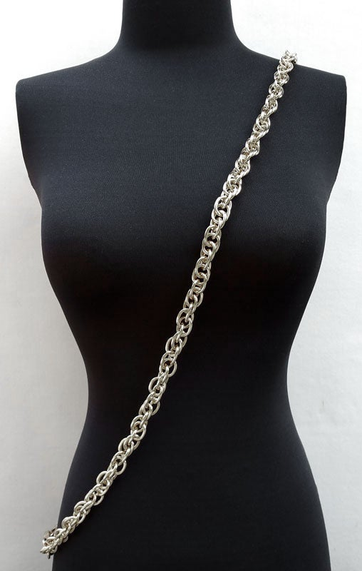 "Image of NICKEL Chain Luxury Strap - Prince of Wales Chain - 1/2"" (14mm) Wide - Your Choice of Length & Hooks"