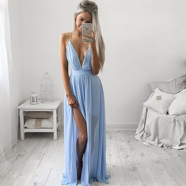 Image of Sexy Deep V Solid Color Dress