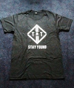 "Image of Black TMT Logo ""Stay Young"" T-shirt"