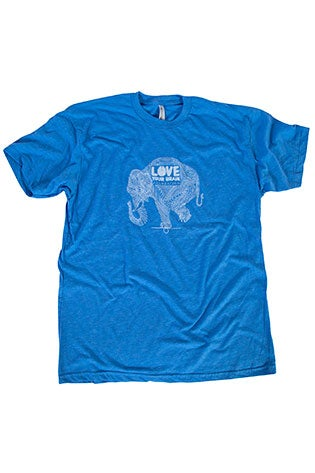 Image of LoveYourBrain T-Shirt: Adult; Heather Blue w/ White Elephant Artwork