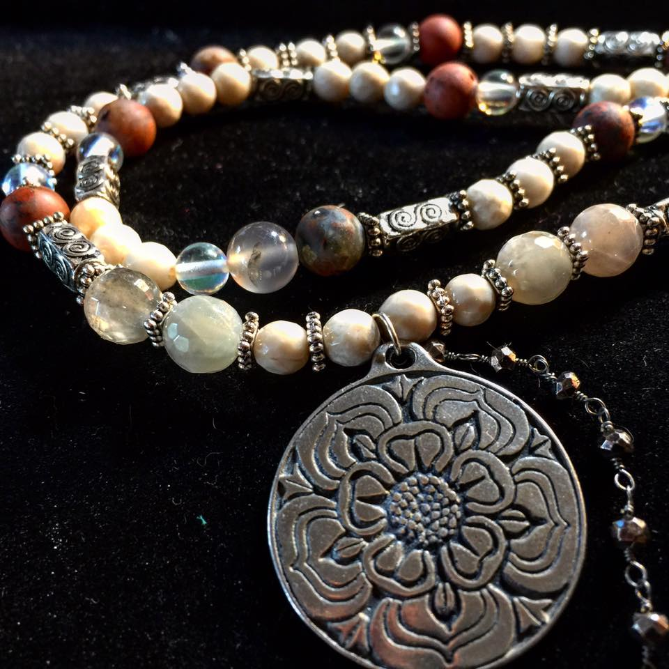 Image of Sacred Marriage Flower infused with Mary Magdalene Energy Necklace and Earring Set