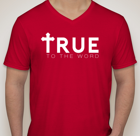 Image of True To The Word Logo || Red w/ White Logo || V-Neck