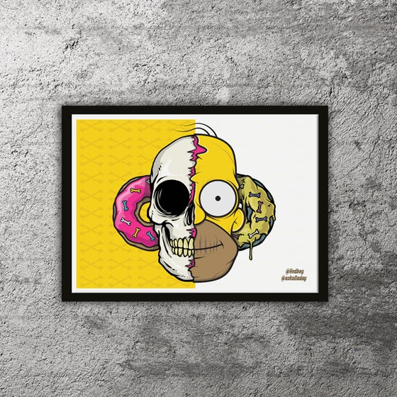 Image of Home-skulled! Collab with A Skull a Day - Limited edition print with free mystery sticker!