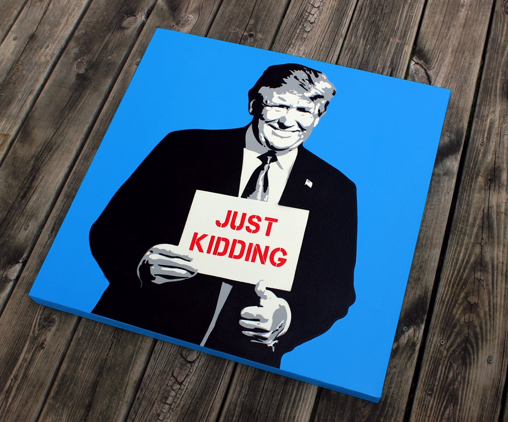 """Image of """"The Troll"""" Blue Original Stencil on Canvas"""