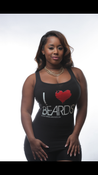 Image of BLACK I HEART BEARDS TANK WITH WHITE PRINT AND RED HEART