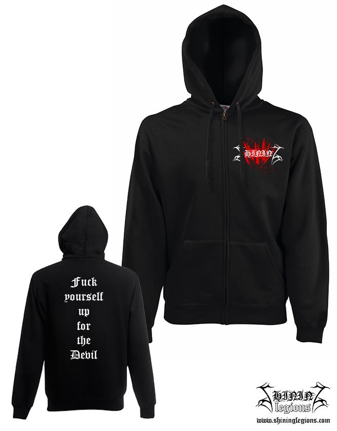 "Image of Shining ""Needles"" hooded sweatshirt with zipper"