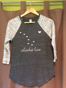 Image of Alaska Love Women's Baseball Tee- Urban Grey