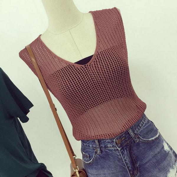 Image of Women's summer 2016 new wave of street V-neck halter cross strap machine carefully knit vest tops