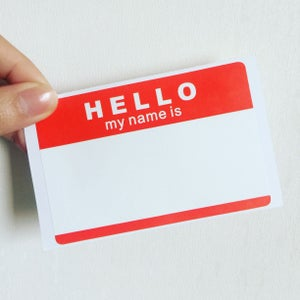 """Image of """"Hello,My Name Is"""" Blank Eggshell Sticker"""