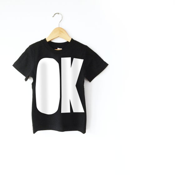 Image of OK T-shirt - White on Black