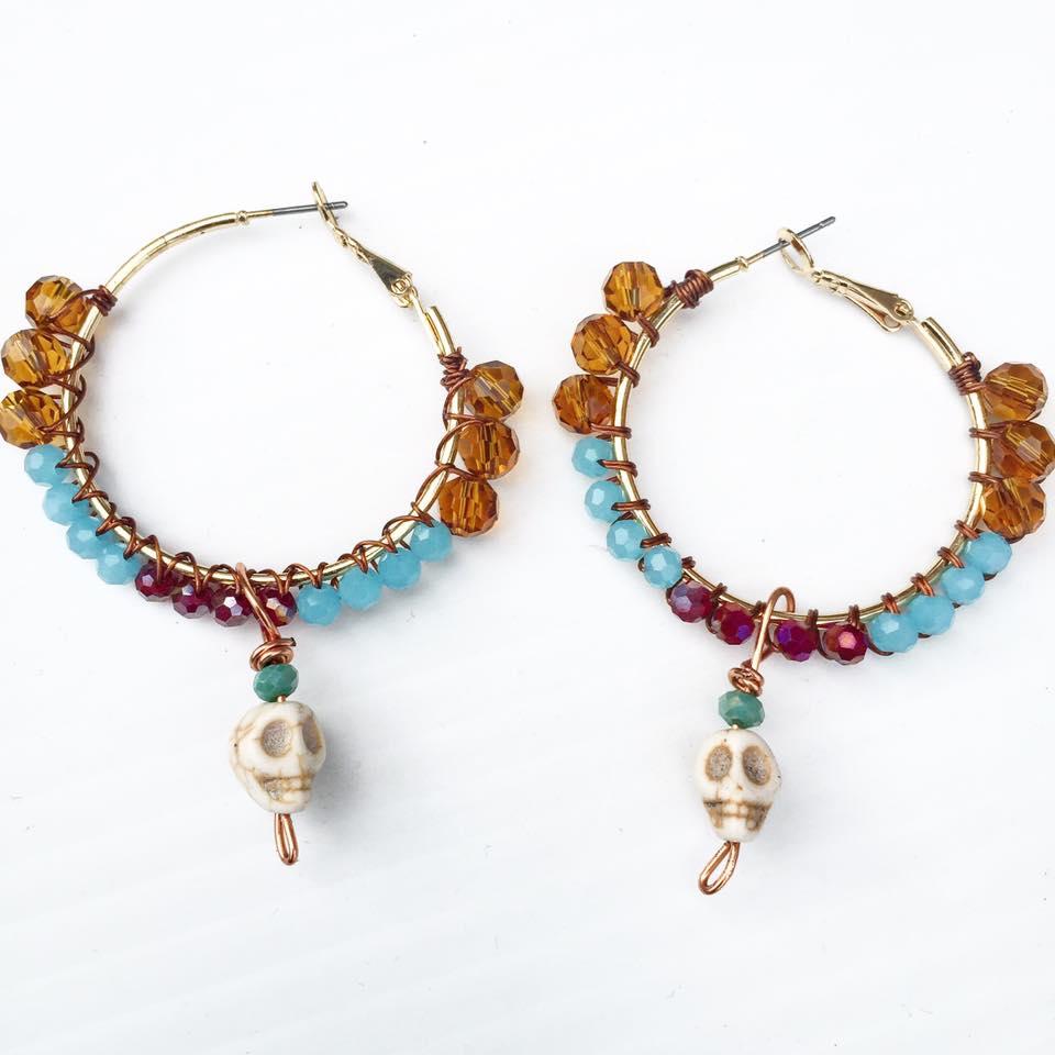 Image of Dia De Los Muertos Howlite Skulls and Swarovski Crystals Earrings