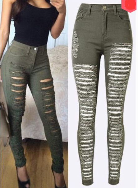 Image of FASHION HOLE JEANS FEET PANTS STRETCH PANTS