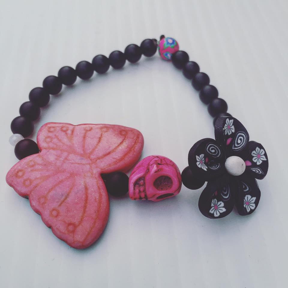 Image of Dia De Los Muertos~ Hand Painted Howlite Skull Butterfly and onyx