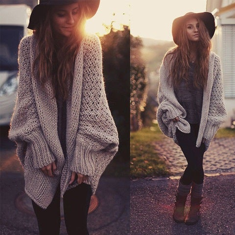 Image of CUTE KHAKI FASHION CARDIGANS BROWN COLOR