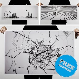 Image of Cityscape, Terrain & Road Map